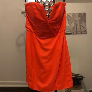 Strapless bright coral dress